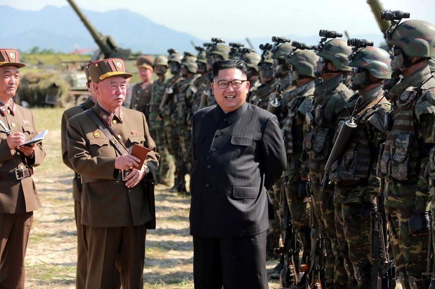 North Korean leader Kim Jong Un guides a target-striking contest of the special operation forces of the Korean People's Army.