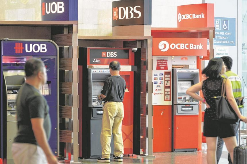ATM machines from UOB, DBS and OCBC Bank, at Changi Airport terminal 2.
