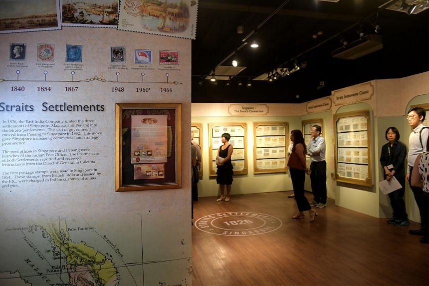 The first stamps issued in Singapore 150 years ago on display at the Singapore Philatelic Museum on Aug 31, 2017.