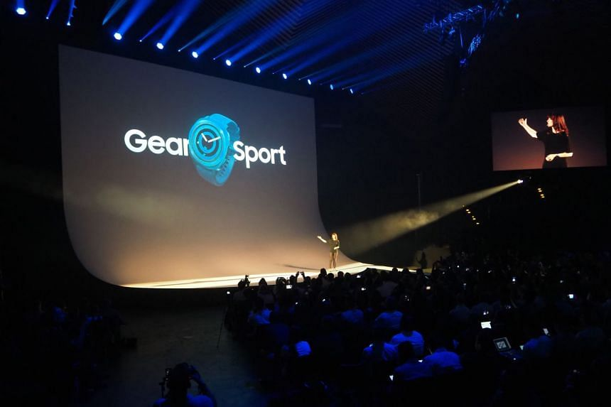Kate Beaumont, director, strategy & product planning, Samsung Electronics UK, announcing the Samsung Gear Sport during a press conference in Berlin.