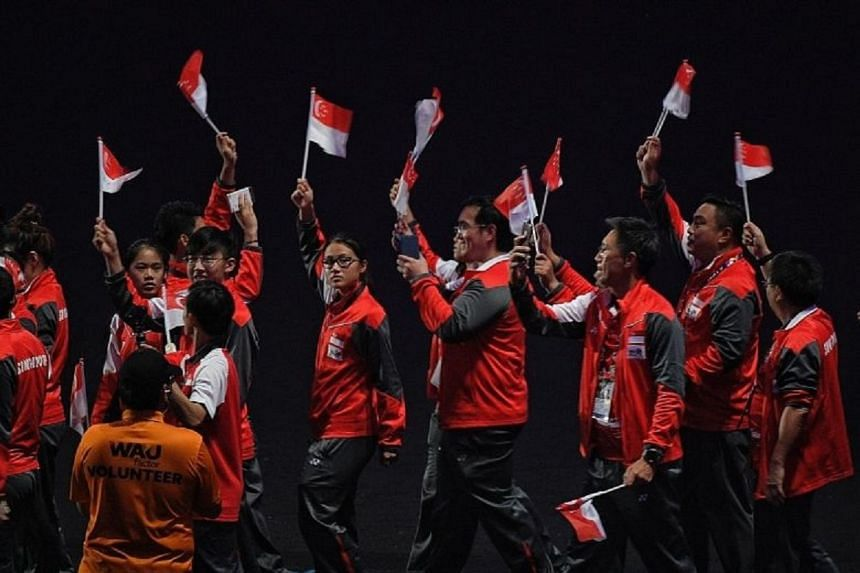 The Singapore contingent at the Closing Ceremony at the Bukit Jalil Stadium. The Republic had 303 SEA Games debutants in its 560-strong contingent and 71 first-timers won medals in Malaysia.