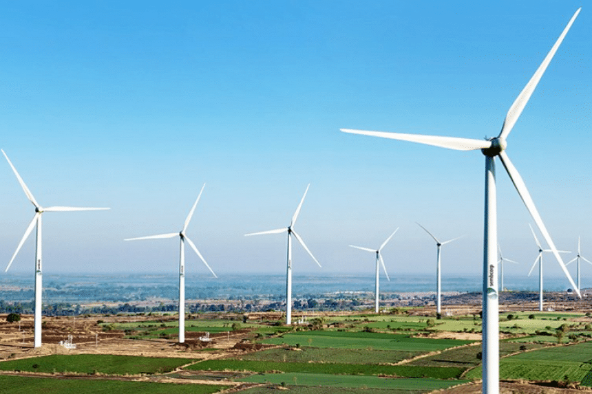 Sembcorp Green Infra's wind turbines in India.