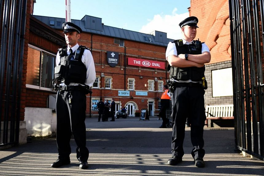 Police at The Oval cricket ground in London, Aug 31, 2017.