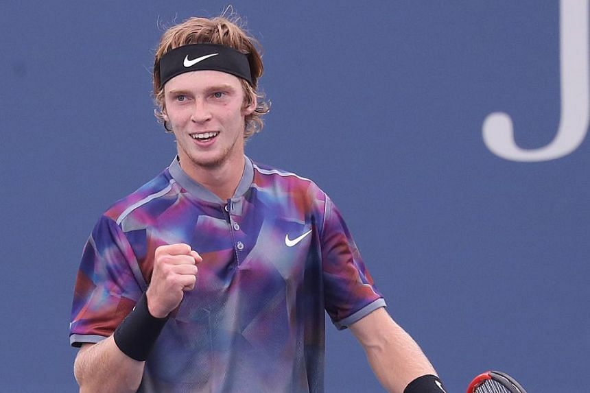 Rublev of Russia reacts after upsetting Grigor Dimitrov of Bulgaria in the US Open.