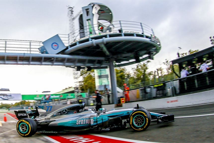 Bottas in action during the first practice session.