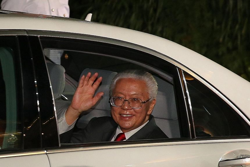 "Dr Tan waving farewell as he left the Istana yesterday after six years as president. At the farewell reception, he said he was ""determined that the President's Office should symbolise and champion the role we all can play to make Singapore a better s"