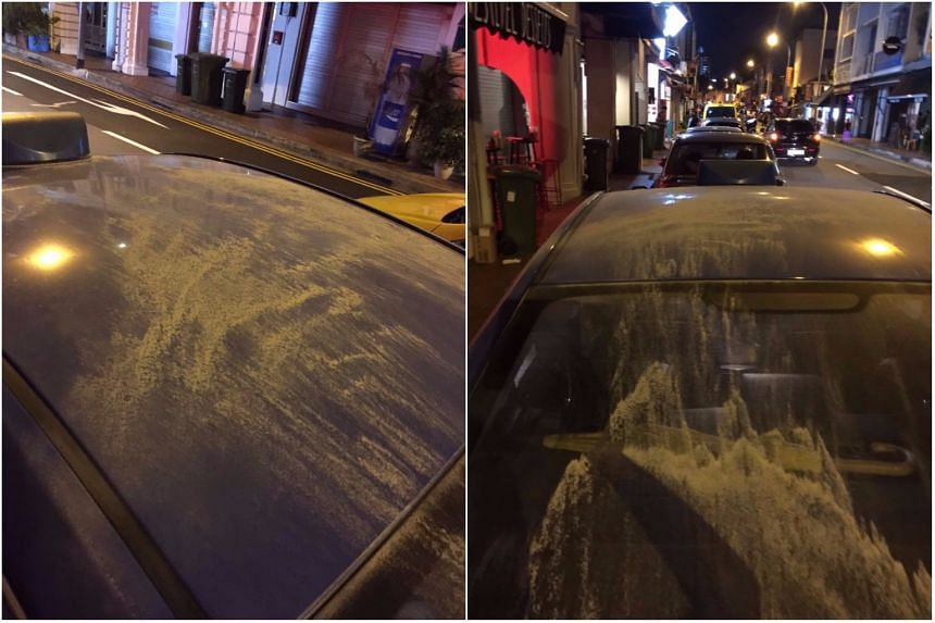 Traces of fire extinguisher particles were seen on the taxi's seats after the incident.