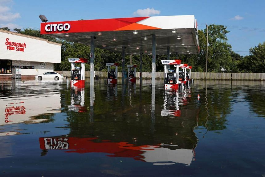 A flooded Citgo gas station is pictured as a result of Tropical Storm Harvey in Port Arthur, Texas, US on Aug 31, 2017.