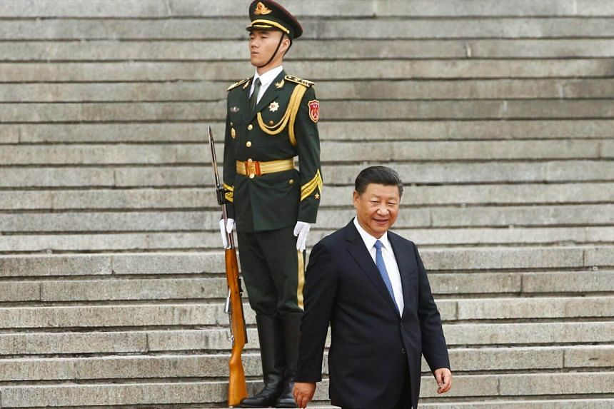 China's President Xi Jinping arrives at a welcoming ceremony for Brazil's President Michel Temer (not pictured) at the Great Hall of the People in Beijing, China, Sept 1, 2017.