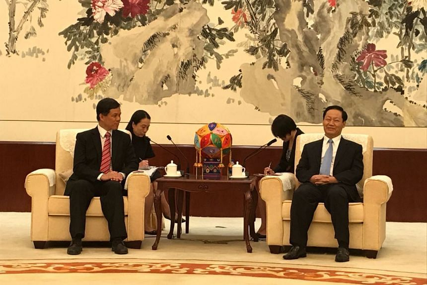 Singapore's Minister in Prime Minister's Office Chan Chun Sing (left) meeting with Guangxi party boss Peng Qinghua in Nanning on Friday (Sept 1).