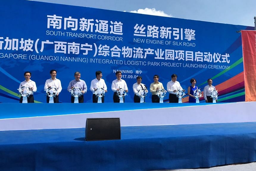 Singapore's Minister in the Prime Minister's Office Chan Chun Sing (centre) on Friday (Sept 1) attended the launching ceremony of the logistics park in Nanning city, the capital of the autonomous region.