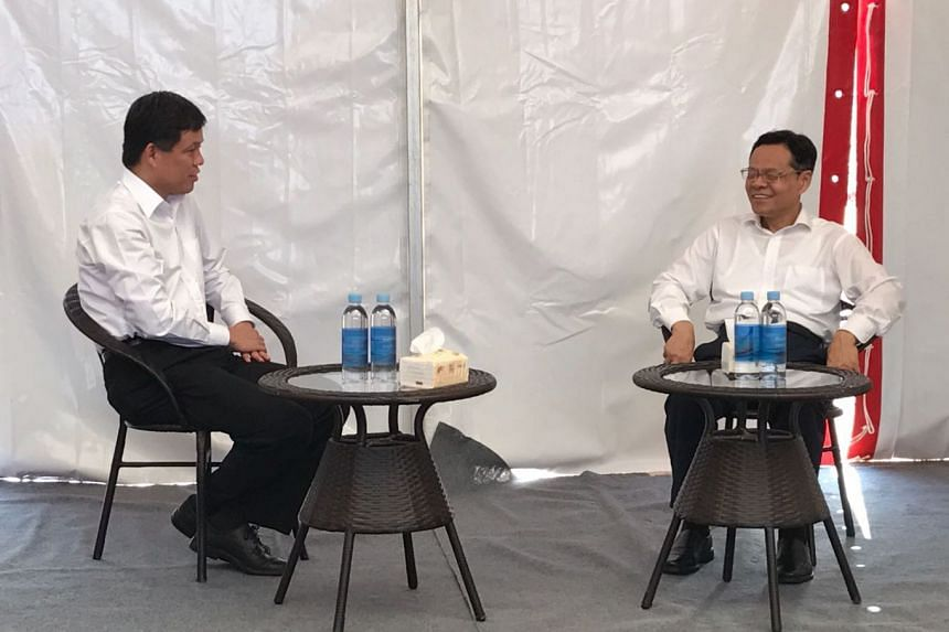 Singapore's Minister in the Prime Minister's Office Chan Chun Sing (left) meeting Guangxi chairman Chen Wu in Nanning on Friday (Sept 1).