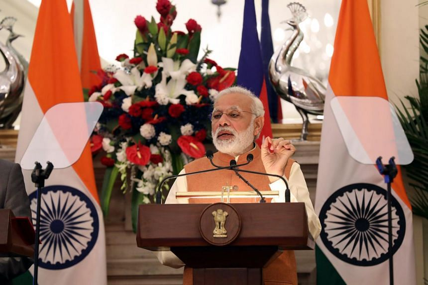 Indian Prime Minsiter Narendra Modi at a media conference in Hyderabad House, New Delhi, India, on Aug 24, 2017