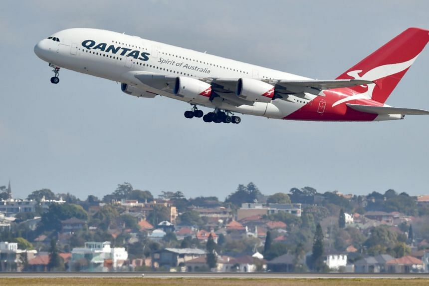 A Qantas Airbus A380 takes off from the airport in Sydney on Aug 25, 2017.