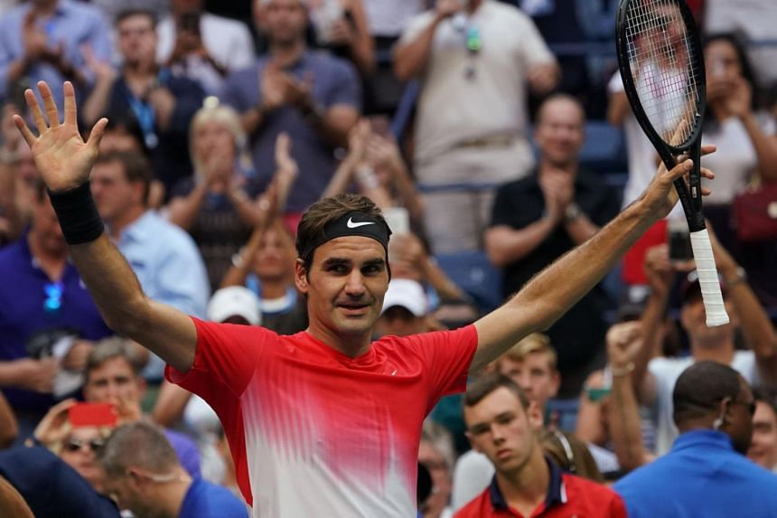 Federer of Switzerland celebrates his win over Mikhail Youzhny of Russia during their Qualifying Men's Singles match at the 2017 US Open Tennis Tournament in New York, on Aug 31, 2017.