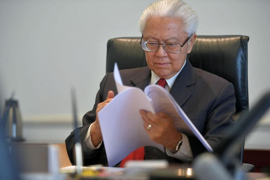 President Tony Tan Keng Yam working in the office at the Istana on Aug 1, 2017.