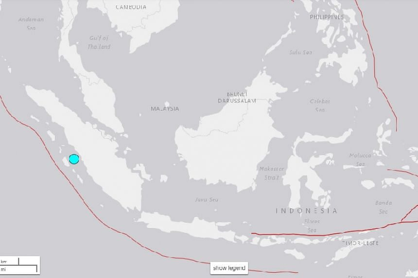A magnitude 6.2 earthquake hit in the sea 75km west of Padang.