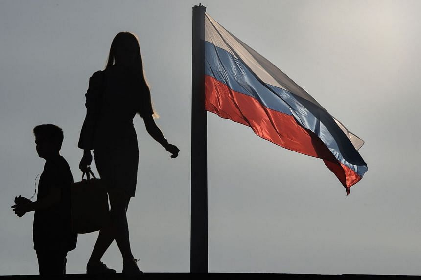 A Russian flag flying in Mosocw.