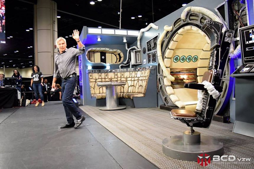 Harrison Ford at a Millennium Falcon set by Belgian Costume Division at the Star Wars Celebration in Orlando in April this year.