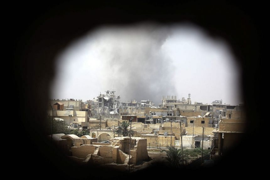 Smoke rising in Raqa's eastern al-Sanaa neighbourhood, on the edge of the old city, Aug 13, 2017.