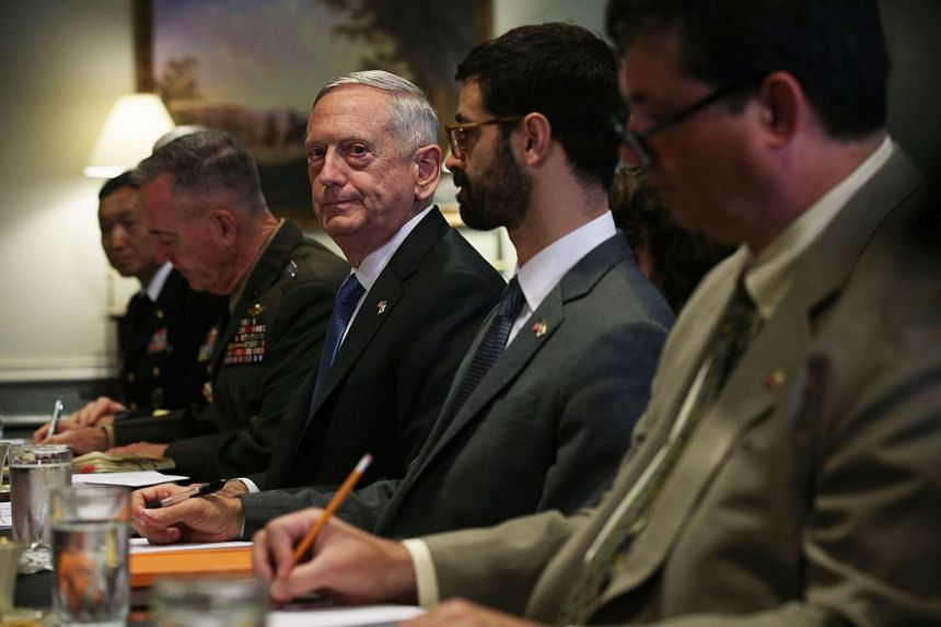Mattis (centre) at a bilateral meeting with South Korean Defence Minister Song Young-Moo at the Pentagon, Aug 30, 2017.