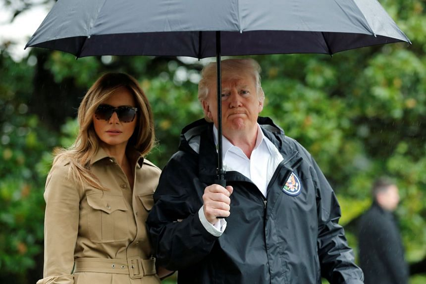 Donald and Melania Trump depart the White House on their way to view storm damage in Texas, Sept 2, 2017.