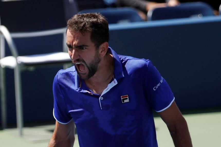 Cilic reacts during his match with Diego Schwartzman of Argentina.