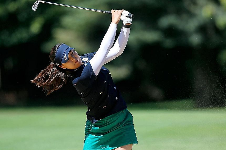 Chun In Gee of South Korea driving from the bunker on the ninth hole during the first round of the LPGA Portland Classic at Columbia Edgewater Country Club. The world No. 6 is gunning for her first Tour win this year with four runner-up finishes unde
