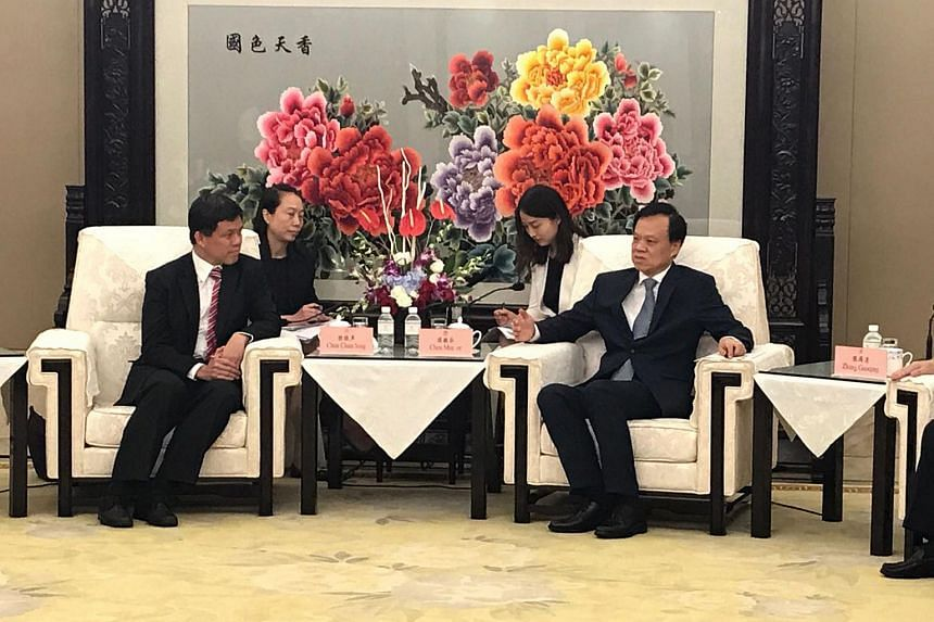 Singapore's Minister in the Prime Minister's Office Chan Chun Sing meeting Mr Chen Min'er, Chongqing party chief, in the Chinese city on Aug 31, 2017.