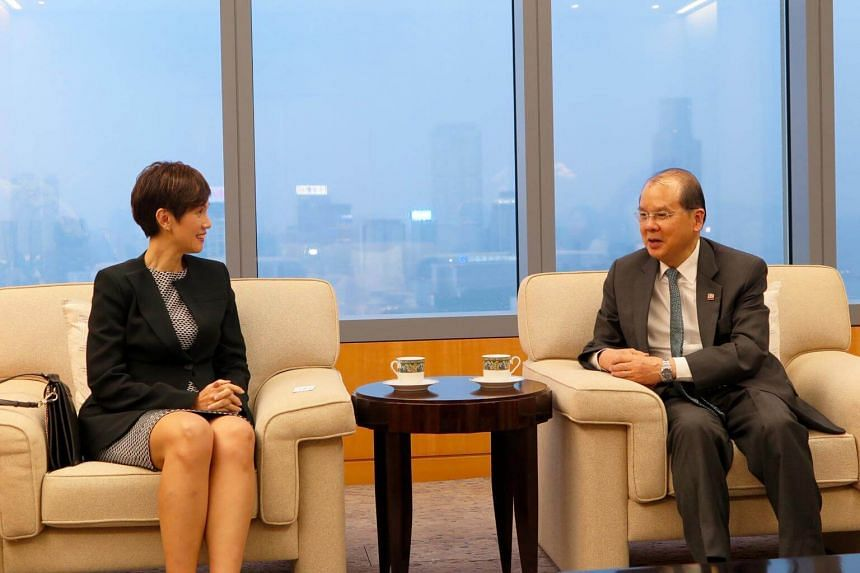 Minister Josephine Teo meeting Chief Secretary for Administration Matthew Cheung in Hong Kong.
