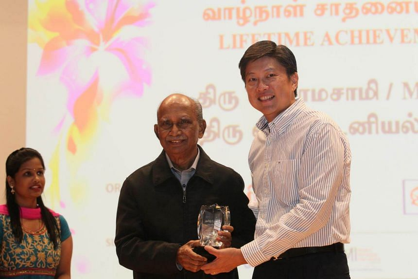 Mr A. Ramasamy, 84, picked up a Lifetime Achievement Award at the Most Inspiring Tamil Teacher's Award for his work in writing the first Tamil textbooks in Singapore.