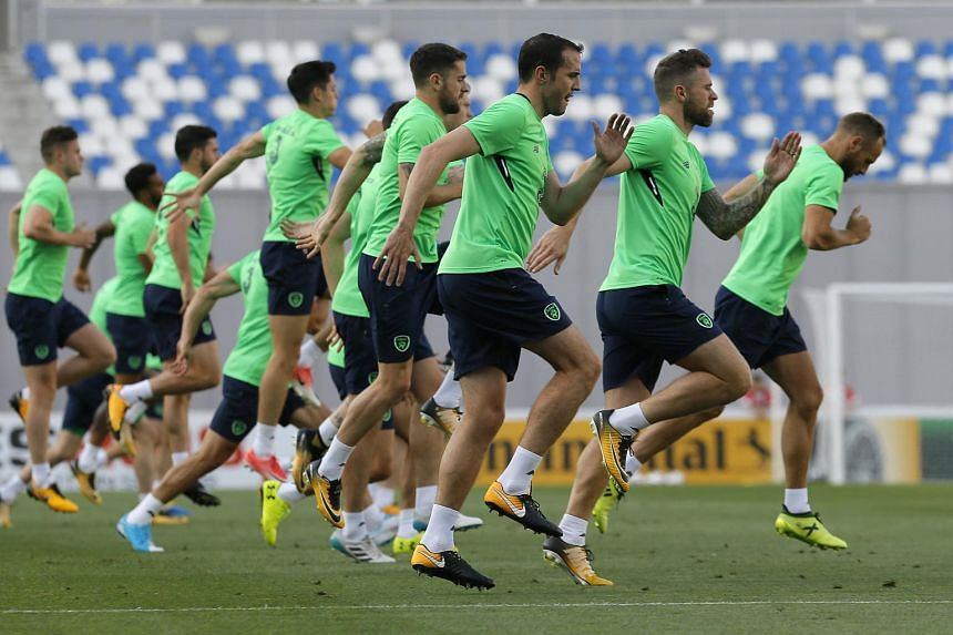 Republic of Ireland national soccer team players in action during a training session at the Boris Paichadze Dinamo Arena in Tbilisi, Georgia, on Sept 1, 2017.