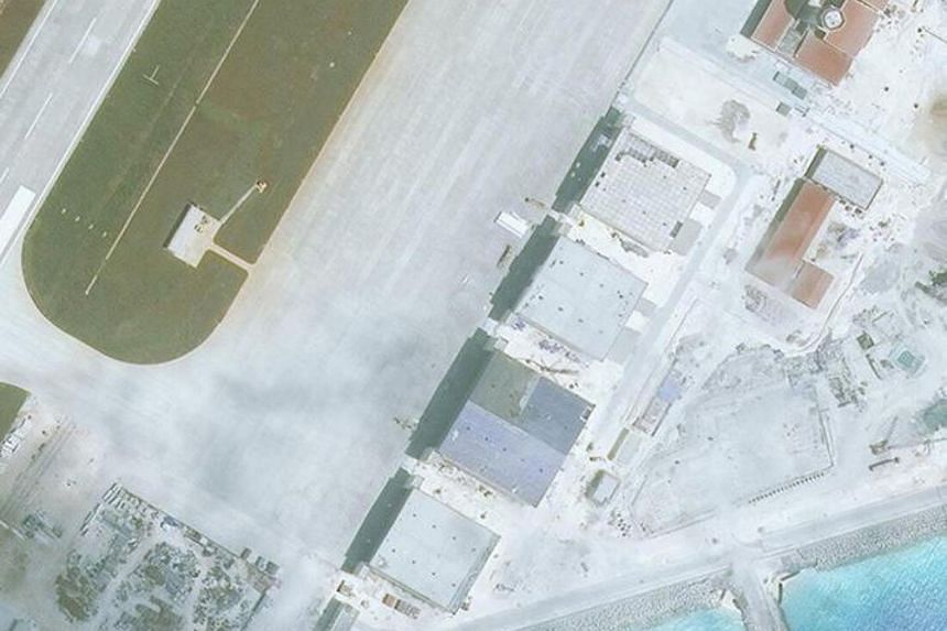 Construction is shown on Mischief Reef, in the Spratly Islands, the disputed South China Sea in this March 11, 2017, satellite image released by CSIS Asia Maritime Transparency Inititative at the Center for Strategic and International Studies (CSIS).