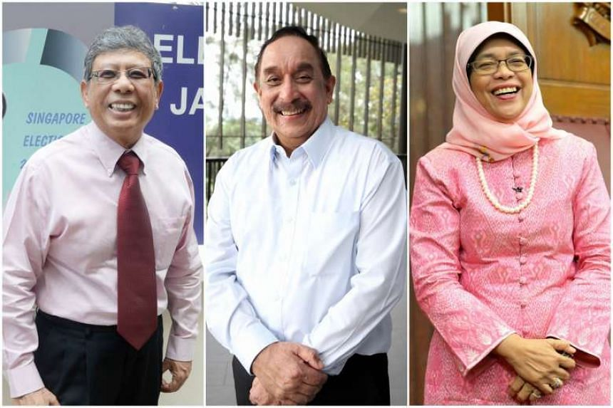 (From left) Presidential hopefuls Salleh Marican, Farid Khan and Halimah Yacob.