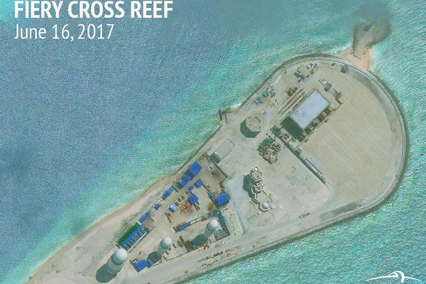 Construction is shown on Fiery Cross Reef, in the Spratly Islands, the disputed South China Sea in this June 16, 2017 satellite image released by CSIS Asia Maritime Transparency Initiative at the Center for Strategic and International Studies.