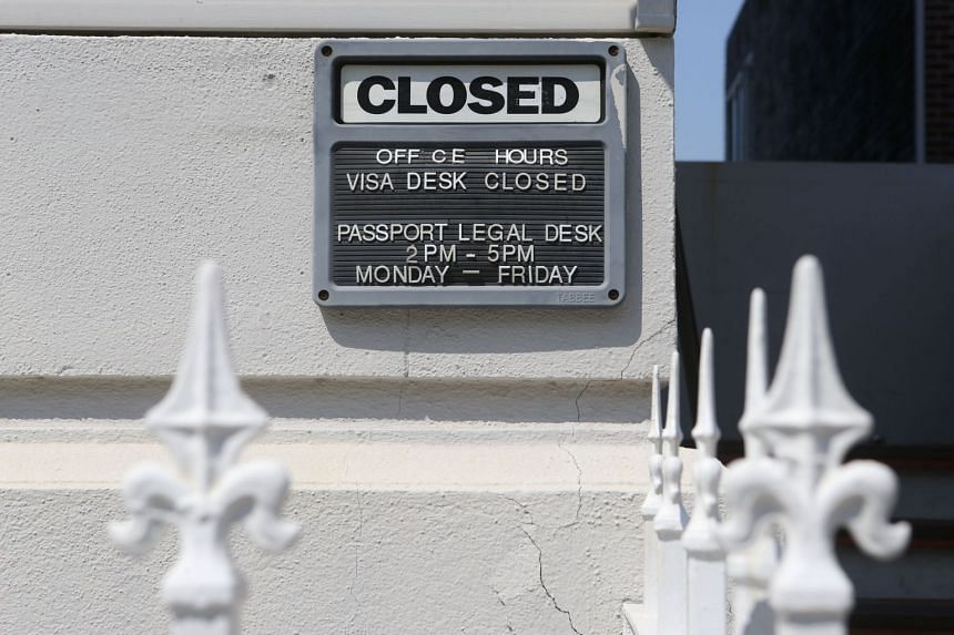 A sign on the Russian Consulate building in San Francisco, California, Sept 1, 2017.
