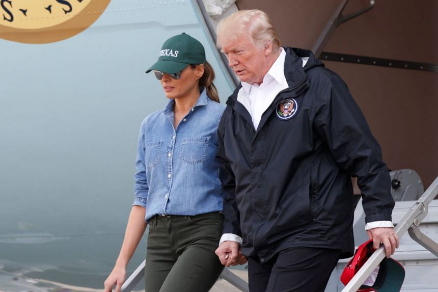 Donald and Melania Trump arrive in Texas, Sept 2, 2017.