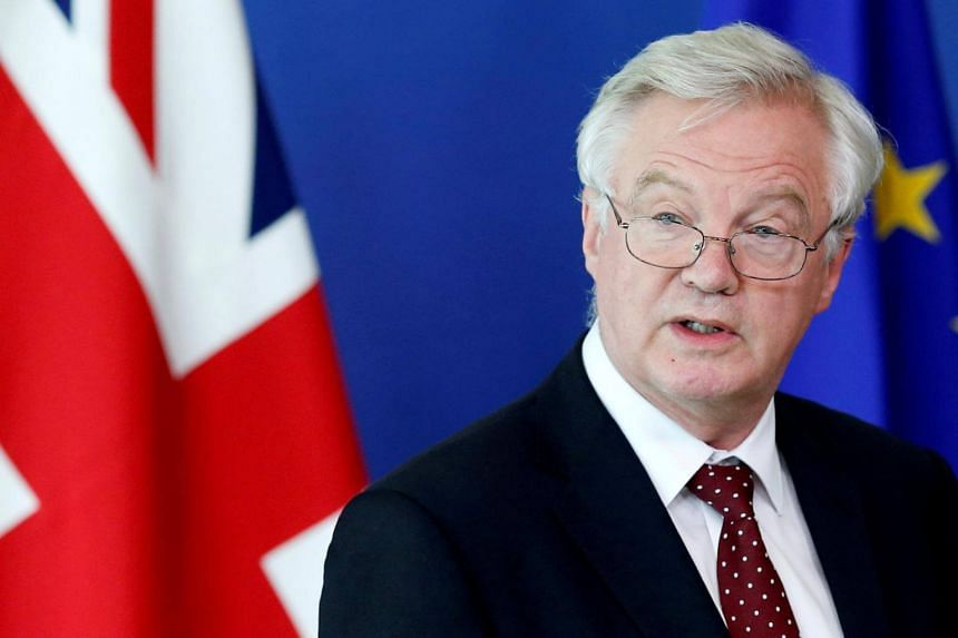 British Brexit minister David Davis speaking at a news conference in Brussels on Aug 28, 2017.