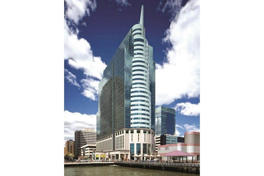 Manulife US Reit announced it will be acquiring 10 Exchange Place (pictured) in Jersey City, New Jersey, on Sept 2, 2017.