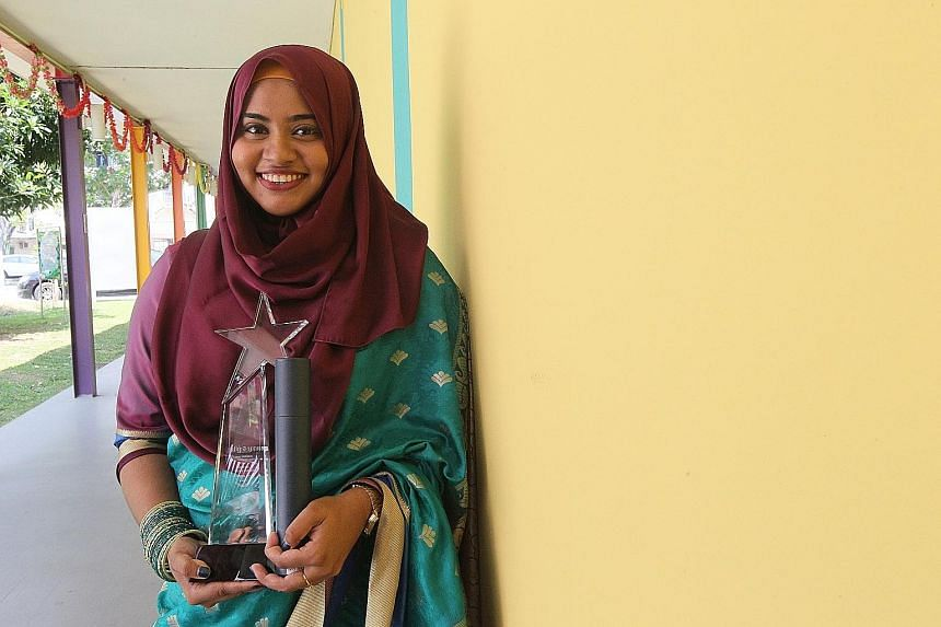 Miss Noorul Wasima, 23, won the Best NIE Trainee Teacher Award at the Most Inspiring Tamil Teacher's Award ceremony yesterday.