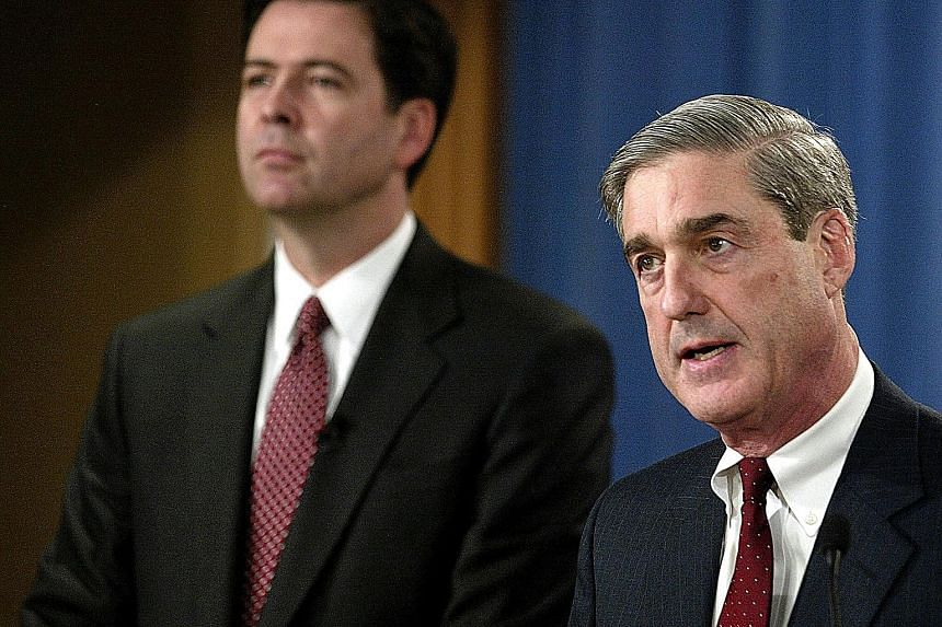 Mr Robert Mueller (right) is looking into the circumstances and reasons for the firing of Mr James Comey, as part of his investigation into Russian efforts to disrupt last year's presidential election.