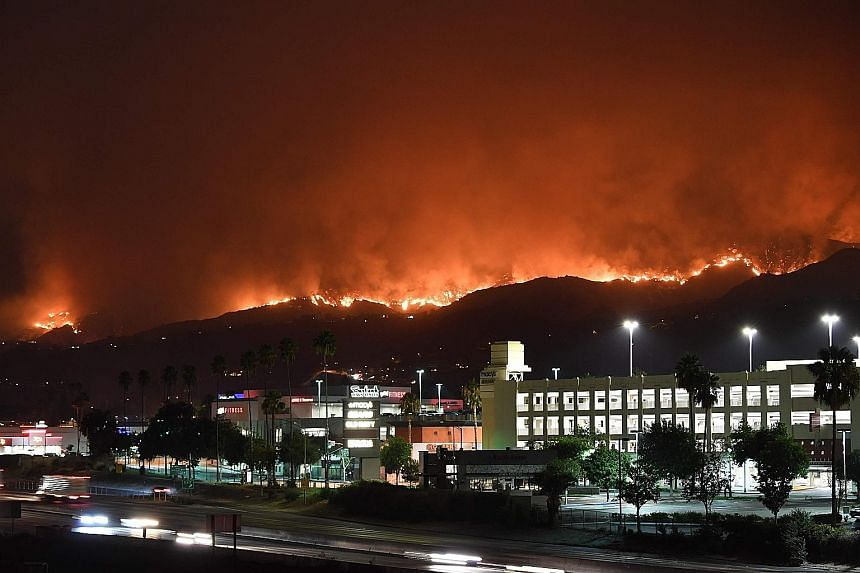 The La Tuna Canyon fire burning in the hills above the city of Burbank, California, early yesterday. The raging bush fire, which quickly burned through an area of about 800ha, started on Friday and was being driven by heat wave temperatures and high