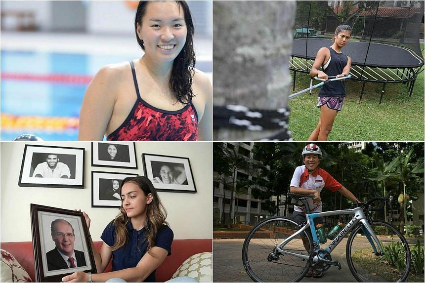 Clockwise from top left: Swimmer Roanne Ho, wakeboarder Sasha Christian, cyclist Calvin Sim and fencer Amita Berthier all overcame their personal obstacles to win gold at the SEA Games.