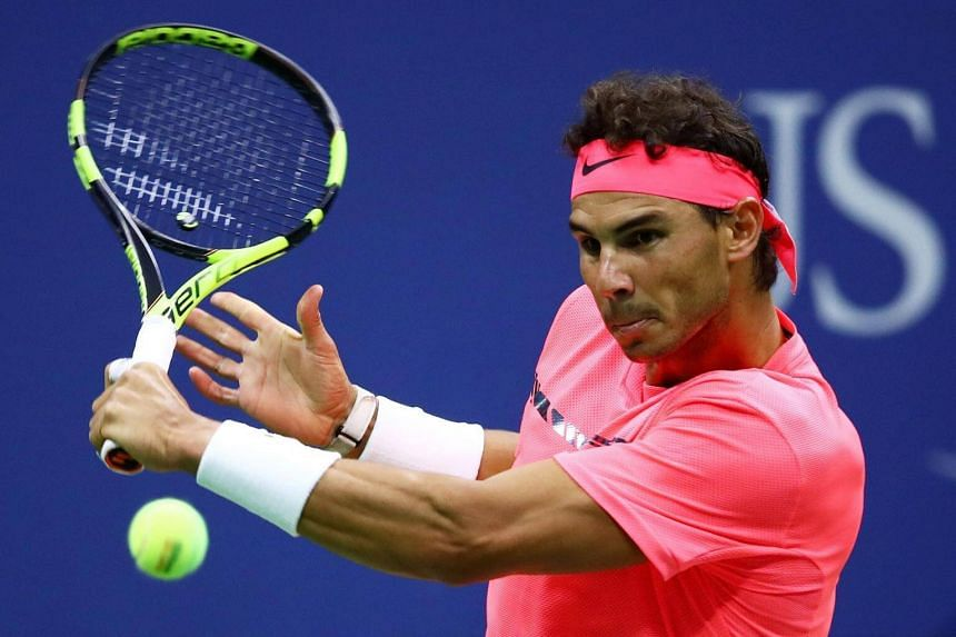 Rafael Nadal returns a shot during his third round match against Florian Mayer during the  2017 US Open on Sept 2, 2017.