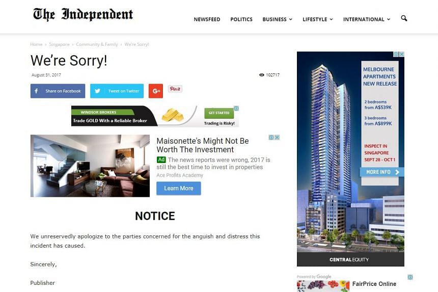 A screengrab of The Independent's website showing the apology, on Sept 3, 2017.