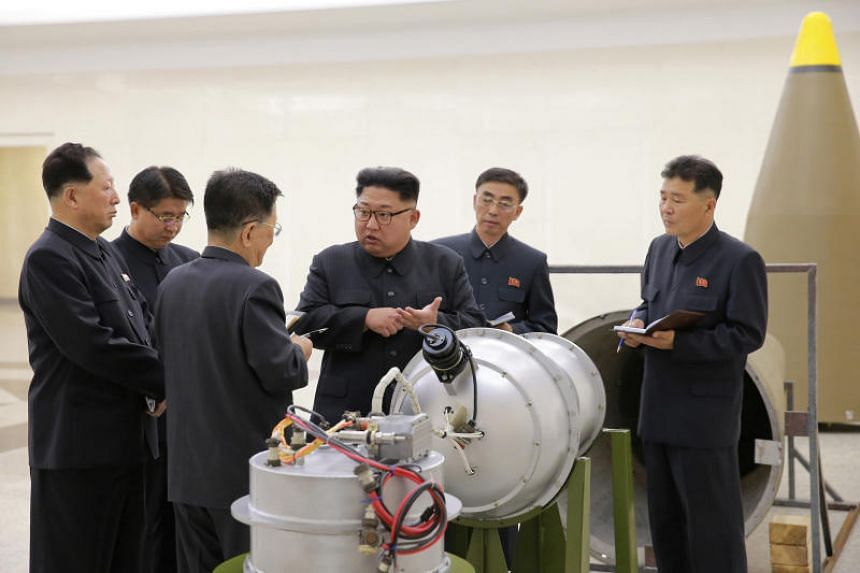 North Korean leader Kim Jong Un provides guidance on a nuclear weapons programme in this undated photo.