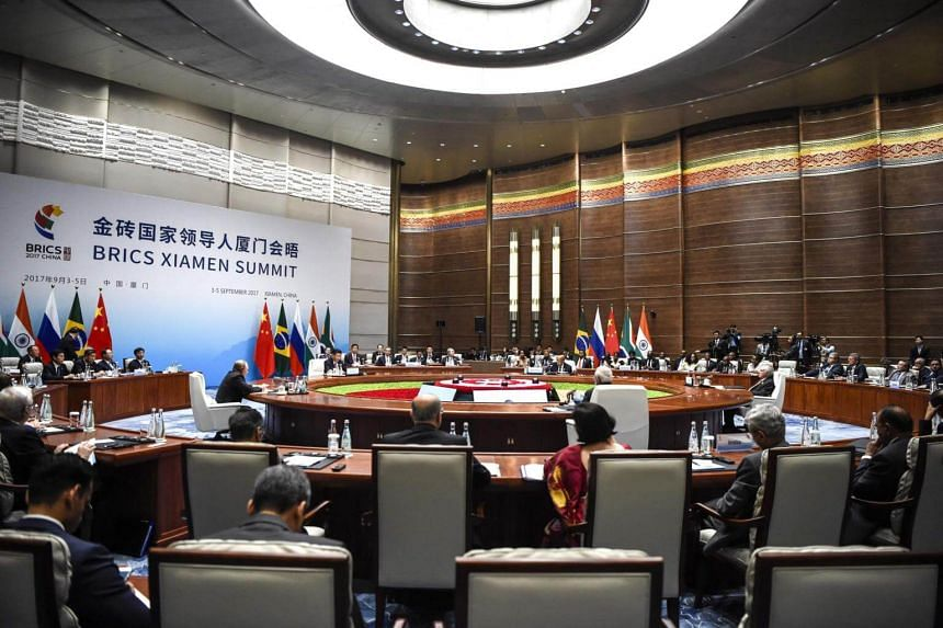 """Brics leaders said in a joint statement that they are deeply concerned over the """"ongoing tension and prolonged nuclear issue on the Korean Peninsula""""."""