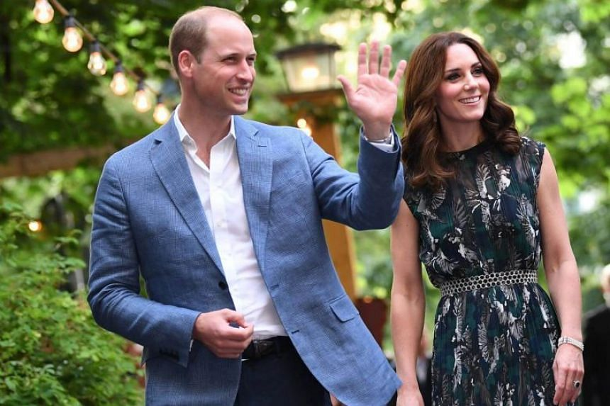 Britain's Prince William, the Duke of Cambridge and his wife Princess Kate, the Duchess of Cambridge, attend a reception at Claerchens Ballhaus, in Berlin Germany, on July 20, 2017.
