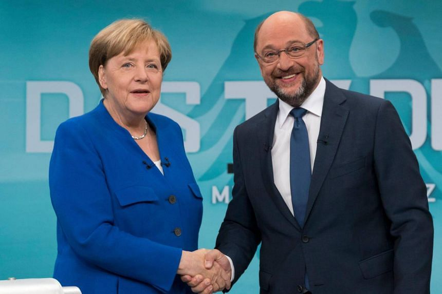 German Chancellor Angela Merkel (left) of the Christian Democratic Union (CDU) and Martin Schulz in Berlin, Germany on Sept 3, 2017.