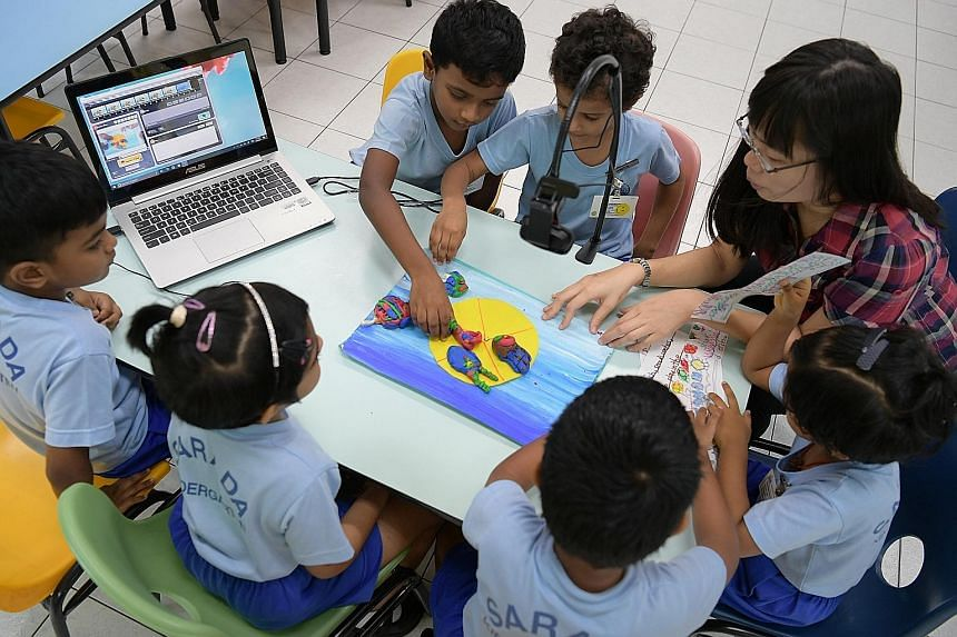 Kids learning through fun with Ms Chuah. More than 500 children from Ramakrishna Mission Sarada Kindergarten have created their own animations through the programme, which has been conducted for two years.